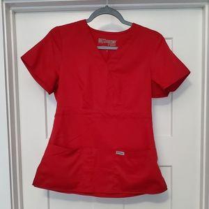 Grey's Anatomy Scrub Top Mock Wrap Red Small